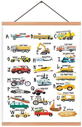 KAIRNE Kinderzimmer Bilder Junge, Alphabet Baby Poster, Kinder Autos Bagger Fahrzeuge Feuerwehr, Kinderposter für Babyzimmer Schlafzimmer Spielzimmer, Home Decor 28X45cm Rahmen