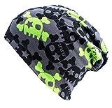Wollhuhn ÖKO Long-Beanie, Wende-Mütze, ganzjährig, mit coolen Skulls in grau/grün für Jungen und Mädchen, 20141201, Größe M: KU 52/54 (ca 3-7 Jahre)
