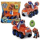 PAW PATROL Dino Rescue Vehículos   con Rev-Up, Dino Figura y Personajes, Figura:Zuma