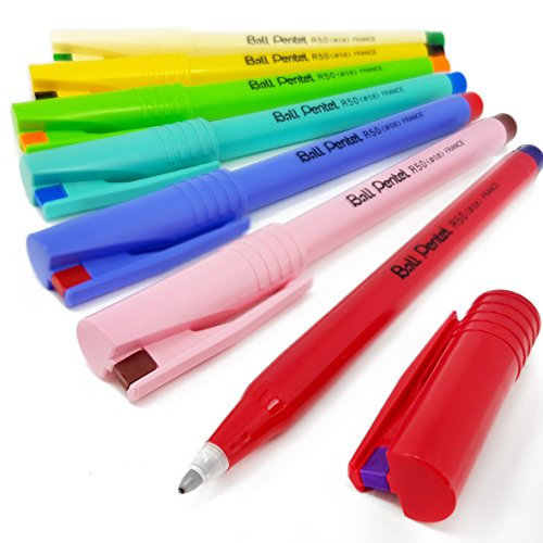 Pentel R50 Ball Tintenroller, flüssige Tinte, Retro-Edition, verschiedene Farben, 7 Stück