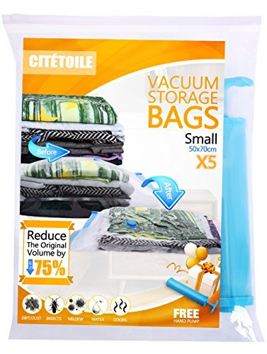 Vacuum Storage Compressed Bags (Small 50 x 70 cm-5 Pack) Reusable Space Saver Bags for Clothes, Duvets, Bedding, Pillows, Blankets, Curtains, Towels, Travel Luggage Double Seal with Free Hand-Pump