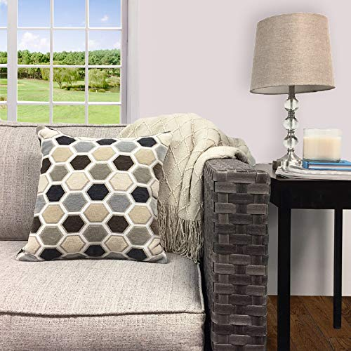 "JN Better Homes & Gardens Square Hexagon Polyester Decorative Throw Pillow - 18"" x 18"" - Grey"
