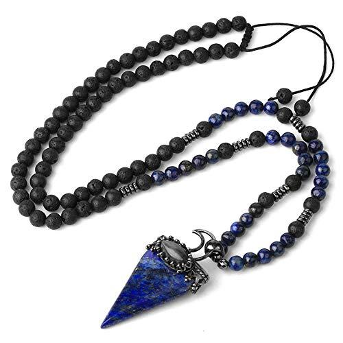 Collar De Piedra,Vintage Natural Gem Brillante Encanto Azul Lapislázuli Piedra Cono Triángulo Colgante Collares Con Cadena De Cuentas De Cristal De Lava Unisex Fiesta De Cumpleaños Regalo Estético P