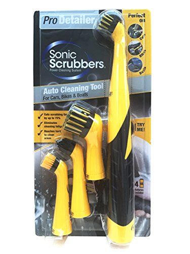 Preisvergleich Produktbild SonicScrubber Pro Detailer Bürsten-Set für Autos / Motorräder / Boote,  gelb