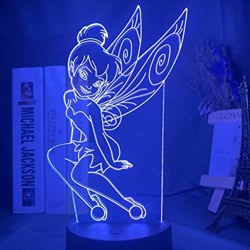 Fairy Tinker Bell Figur Led Nachtlicht für Mädchen Schlafzimmer Dekor Buntes Nachtlicht Geschenk Led Nachtlicht Prinzessin Tinkerbell