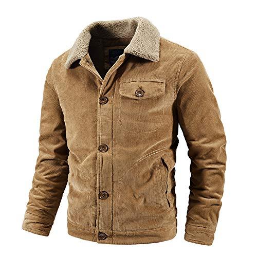 CFWL Winter Corduroy Jacket Loose Cotton Jacket Casual Warm Cotton Jacket Cotton Military Bomber Jacket Winter Outerwear Windbreaker Cargo Jacket Multi Pockets Pullover Winter Yellow L