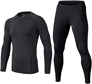 BUYKUD Men's Long Sleeve Base Layer Compression Athletic Underwear Shirt Tights Top & Bottom Set
