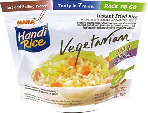 MAMA gebratener Instantreis – Glutenfreies & vegetarisches Reisgericht – Für den Hunger zwischendurch – Enthält Löffel – 10 x 80 g