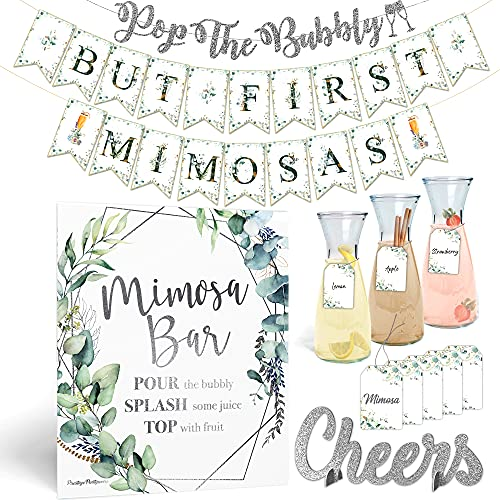 Elegant Mimosa Bubbly Bar Kit - Black and White Champagne Brunch Decorations for Birthday Galentine