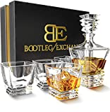 Whiskey Decanter Glass Set with 4 Tumbler Highball Glasses for Scotch, Bourbon or Whiskey Stylish Gift for Men. Genuine Lead-Free Crystal Decanters for Alcohol.