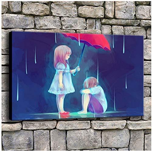Arte de la pared Pintura de dibujos animados 1 pieza Resumen Niña y niño Triste Imagen de amor Decoración moderna para el hogar Dormitorio Impresión de lienzo de alta calidad -60x90cm Sin marco