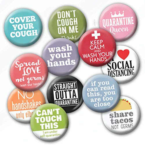 12-Pack Buttons - Cold and Flu Awareness - Wash Your Hands, Keep Calm, Safe and Healthy - Design 6820