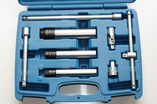 """3/8"""" Zündkerzen-Nuss-Set 12-kant mit Drehmomentbegrenzung SW 14-16-21 mm + Zubehör"""