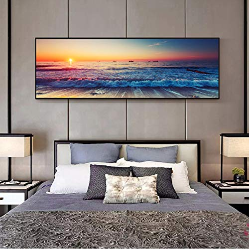 XIANGPEIFBH Sunset By The Sea Canvas Paintings On The Wall Art Posters Wall Art for Living Room Home Decor Artwork 50x150cm(20'x59') Unframed