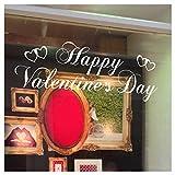 Stickers4 - Adhesivo Grande para Ventana de San Valentín, diseño de Texto Happy Valentines, Color Blanco