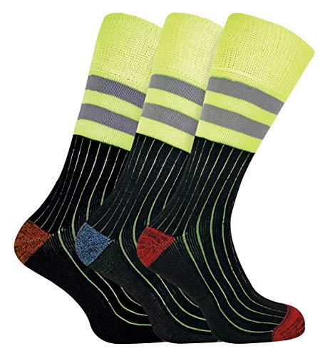 Sock Snob 3 Pares Hombre Algodon Calcetines Hi Viz Reflectantes Trabajo Para Botas Zapatos de Seguridad (39/45, 3 Pairs (Hi Viz))