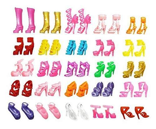 cheap4uk Zapatos de muñeca 60 Pares Moda Tacones Altos Sandalias Botas Accesorios de muñeca Regalos de Cumpleaños de Muñecas de Niña