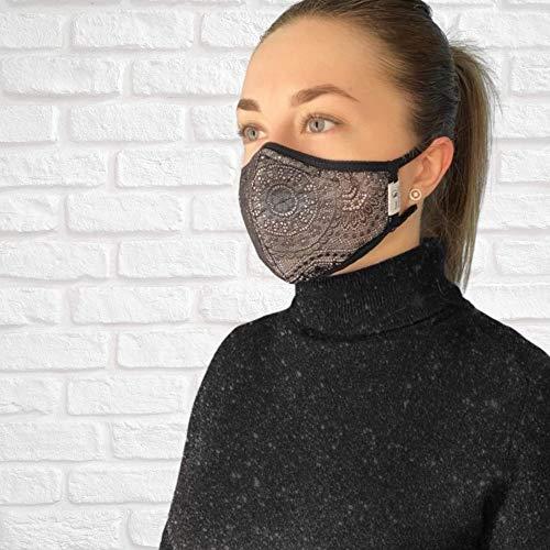 FEELPROTECTED® [2er-Set] Schutzmasken | Öko-Tex-Baumwolle 3-lagig | extra Silberinonen-Beschichtung | wiederverwendbar waschbar ERGO+ Unisex S/M [MADE IN EU]