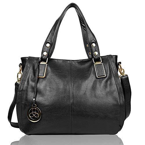 EGOGO Damen Shopper Handtasche Leder Henkeltasche Für Fraun Schultertasche Reisen Arbeit und Einkäufe E522-6 (Schwarz)