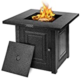 Propane Fire Pit, Outdoor Companion, SNAN 28 Inch Auto-Ignition Gas Fire Pit Table with Cover, ETL Safety Certified & Advanced Black Strong Steel Surface, Table in Summer, Pit in Winter