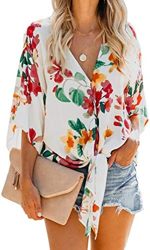 HOTAPEI Women Fashion Summer Casual Floral Print Deep V Neck 3 4 Bell Sleeve Front Tie Knot product image