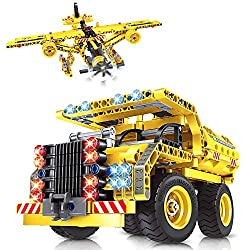 【2 in 1 Building Toy & Felixble Parts】 The VATOS boys STEM toy with full set of 361pcs parts can be assembled into a dump truck or an airplane which has an elegant appearance and exquisite details. Once built, the model comes to life and has flexible...