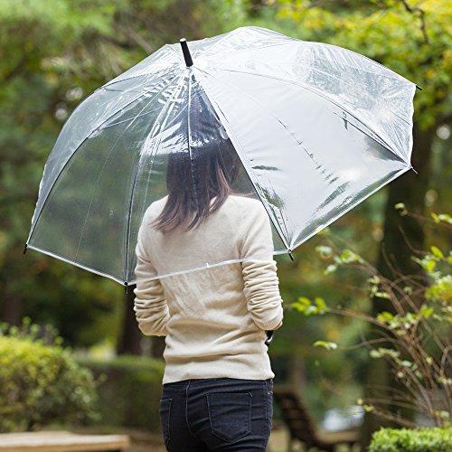 『大きい 透明ジャンプ傘 (6本組) [ブラック] 65cm×8本骨 耐風グラスファイバー骨 ビニール傘 まとめ買い【LIEBEN-0631】』の3枚目の画像