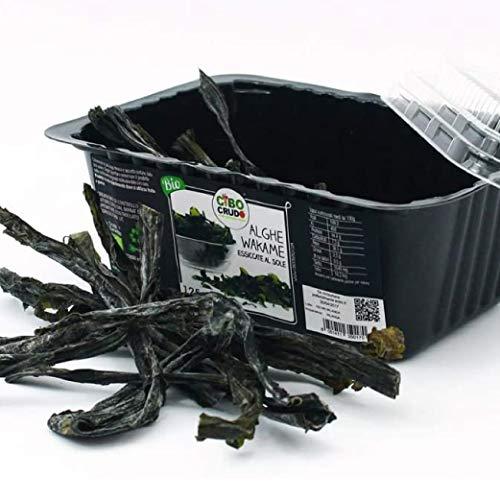 CiboCrudo Organic Raw Algas Wakame secadas al sol, Algas orgánicas, 40gr, Origen Bretaña, Wakame Sea Vegetable Raw Organic, Algas pardas ricas en yodo, Etiquetas en italiano