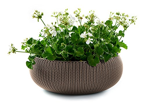 Keter Cozies Large Plastic Knit Texture 21' Planter Bowl with Removable...