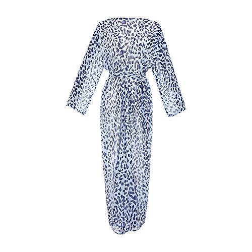 Beach Coverups Women's Leopard Print Chiffon Lang Vest Beach Vacation Swimsuit Met Bikini Sunscreen Summer Seaside Dress (Color : Blue, Size : One size)