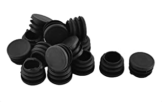 Antrader Furniture Foot Table Chair Legs Blanking End Plastic Round Ribbed Tube Insert Plug Cap Covers Protector Black 12-32mm 30pcs (25mm)