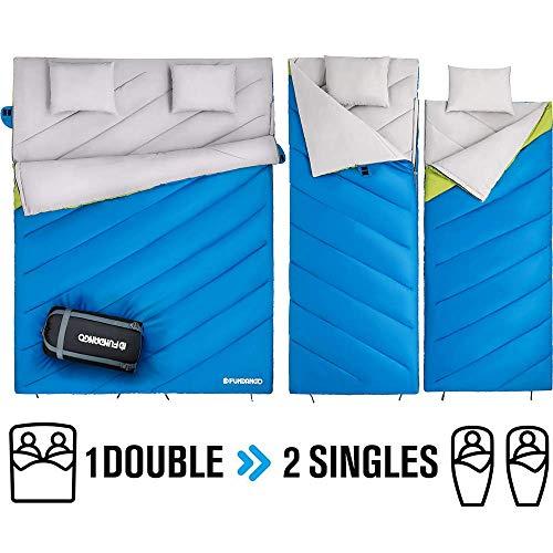 FUNDANGO Schlafsack Doppelschlafsack für Erwachsene,kaltes Wetter,extrem 0 Grad,leicht,kompakt,wasserdicht,für Camping,Rucksackreisen,Wandern,Übergröße XL mit Kompressionssack und 2 Kissen