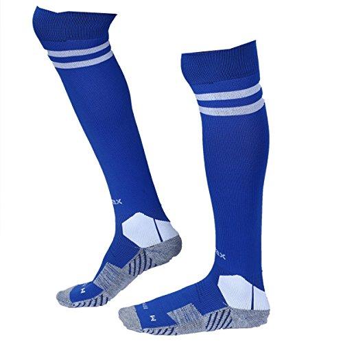 KD Willmax Sports Socks Football Stocking Dry Fast Elite (Blue, Large) Unisex Knee High Striped Sports Football/Soccer/Hockey Rugby Tube Socks for Men, Women, Boys & Girls
