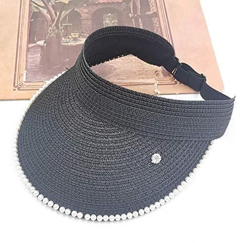 Sun Hat Straw Hat Sun Hat Pearl Adjustable Big Heads Wide Brimmed Beach Hat Packable Sun Visor Hat -Black