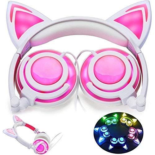Preisvergleich Produktbild Jszzz Wired Gaming Headset,  Katze-Ohr-Kopfhörer-Kopfhörer-glüh... Onear Faltbare LED Gaming Blinklichter USB-Ladegerät Kopfhörer-Kopfhörer,  Geeignet for PC / PS4 / Xbox One / Switch (Farbe: Pink)