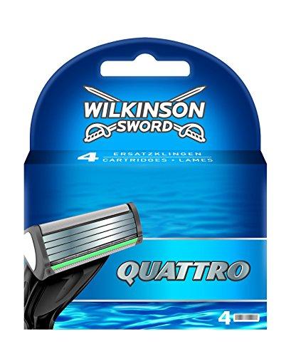 Wilkinson Sword Quattro - Cargador de Recambio de Cuchillas de Afeitar para Hombre de 4 Hojas , Banda Lubricante con Aloe Vera , 4 Unidades