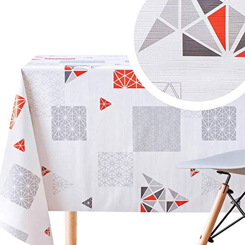 KP HOME - Mantel de vinilo de diseño nórdico, Vinilo de PVC., Blanco, Rojo, Gris, 200 x 140cm (79X55in)