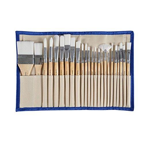 Conda 24 Pz Pennelli Professionali per Colori ad Olio e Acrilici Set di Pennelli Spazzola per Dipingere sintetico corto Manico Confezione in Nylon