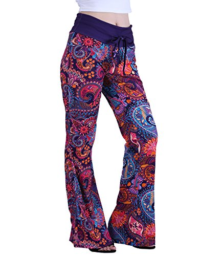 HDE Womens Cotton Pajama Pants Wide Leg Sleepwear Casual Loose Lounge PJ Bottoms,Purple Paisley,2X Plus