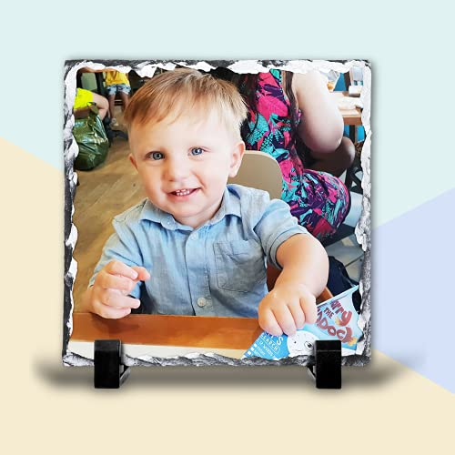 Personalised Photo Slate with Stand, 15cm Square Custom Photo Tile Rock...