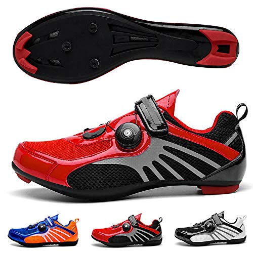 Addora Road Bike Shoes- Premium Unisex Cycling Shoes with Non-Slip Bottom and Reflective Design- 2020 New Womens Mountain Bike Shoes MTB Shoes Cycling Spin Shoe for Men Red Road- 4.5