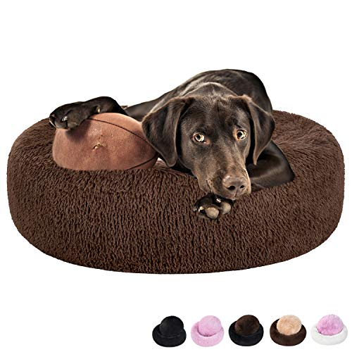 Coohom Calming Shag Hundebett aus Kunstfell, waschbar, rund, verschiedene Farben (58,4 cm/76,2 cm) für kleine und mittelgroße Hunde, Medium 30