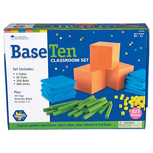Learning Resources Brights Base Ten Classroom Set, 20-25 Students, 823 Piece Set, Ages 6+