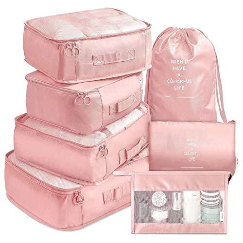 weichuang Bolsa de almacenamiento de 7 piezas, organizador de equipaje, bolsa de viaje, impermeable, organizador de embalaje, bolsas de ropa, accesorios de viaje, bolsa de almacenamiento (color: rosa)
