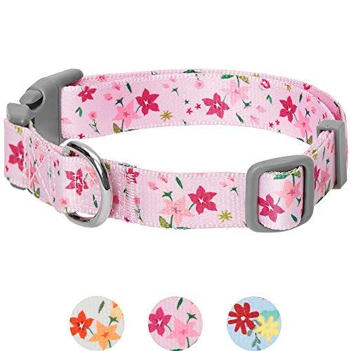 UMI. Essential Made Well Hundehalsband florales Design in Pink, Medium, Hals 37cm-50cm, verstellbare Halsbänder für Hunde
