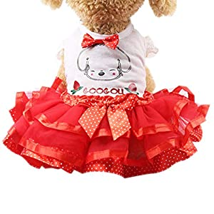 Small Dog Girl Dress,Wakeu Lace Tutu Vest Apparel Clothes for Pet Puppy (XS, Dog Red)