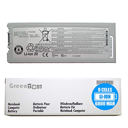 GreenTech Compatible CF-VZSU80U Replacement Battery for Panasonic Toughbook CF-C2, CF-C2 MK1 - GreenTech 10.8V 6800mAh 9 Cell Battery CFVZSU80