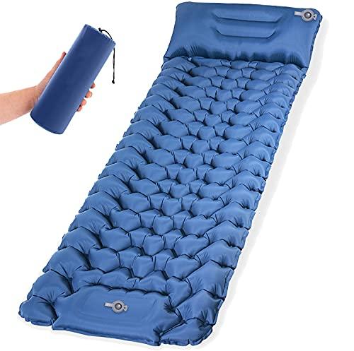 TREKFOX Isomatte Camping Schlafmatte mit Fußpresse Pumpe 9cm Dick Isomatte Selbstaufblasend langlebige wasserdichte kompakte Luftmatratze für Camping Zelte Wandern Backpacking Reisen