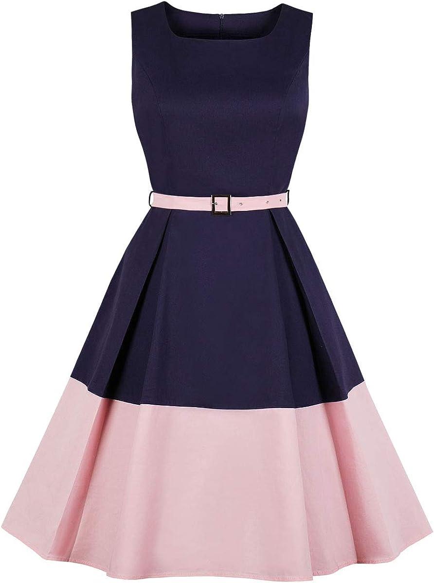 Wellwits Women's Color Block Pocket Belt 1940s Vintage Work Career Dress