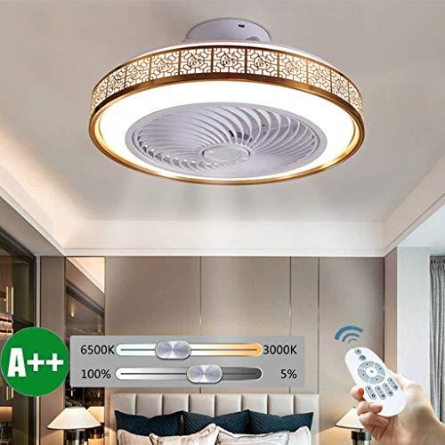 OUJIE Deckenventilator Mit Beleuchtung, 72W LED-Ventilator Mit Fernbedienung, Einstellbare Windgeschwindigkeit Und Dimming Ultra-Quiet Deckenventilator Licht,Gold